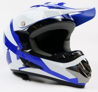 Детский шлем кроссовый Fox (Бело - Синий)