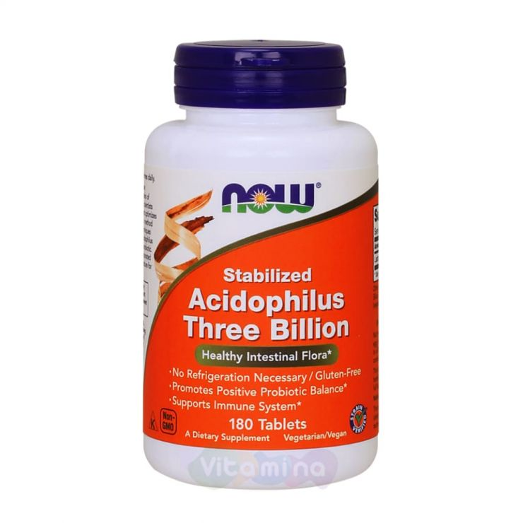 Acidophilus Three Billion Пробиотик Ацидофилус, 180 табл.