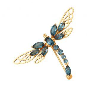 Брошь стрекоза из золота с синими топазами 740227
