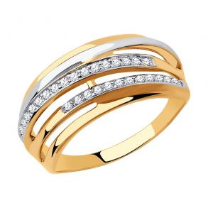 Кольцо из золота с фианитами 018306 SOKOLOV