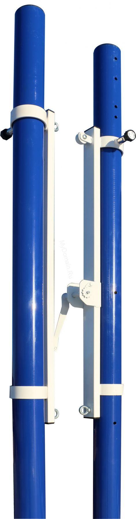 Стойки волейбольные универсальные со стаканами, крышками и механизмом натяжения троса