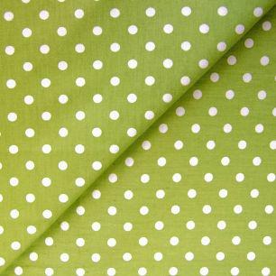 Ткань Хлопок Горошек на зеленом 50x40