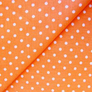 Ткань Хлопок Горошек на оранжевом 50x40