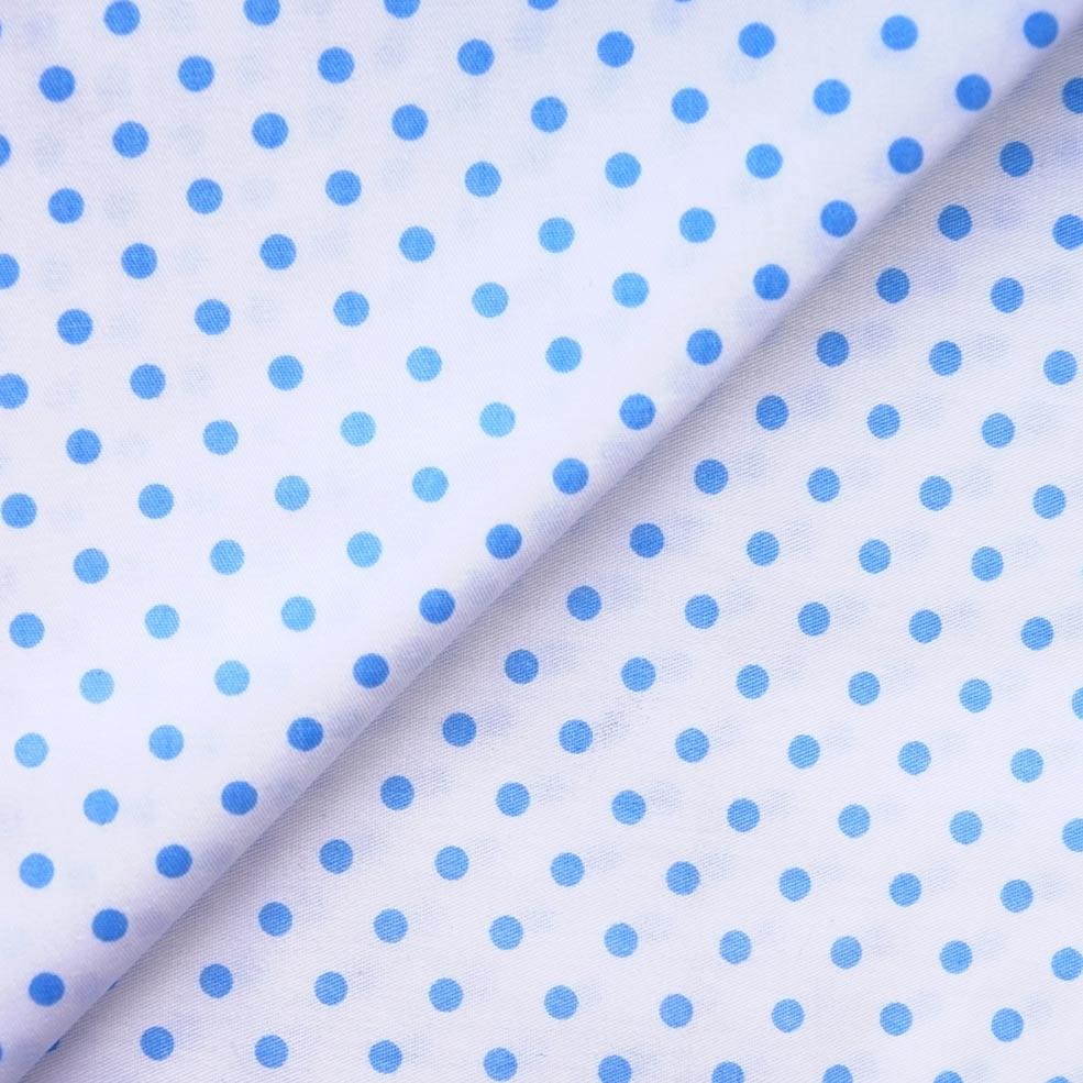 Ткань Хлопок Голубой горошек 50x40