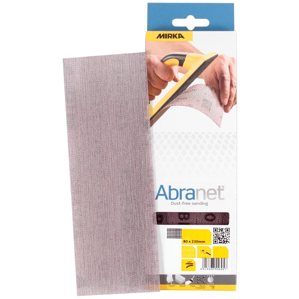 Mirka ABRANET. Полоска абразивная на сетчатой синтетической основе, 80мм. х 230мм., Р180, в упаковке 10шт.