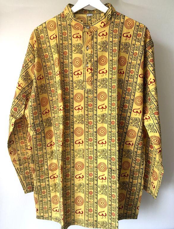 Плотные мужские индийские рубашки с символом Ом (Москва)