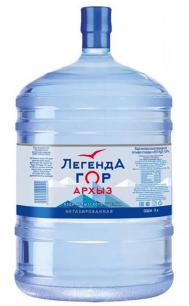 """Вода природная питьевая минеральная столовая """"Легенда гор Архыз"""" 19 литров."""