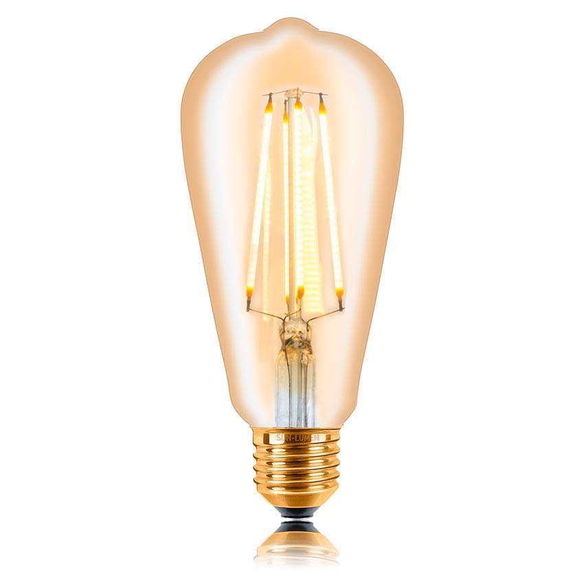 Лампа светодиодная филаментная диммируемая E27 4W 2200K золотая 057080