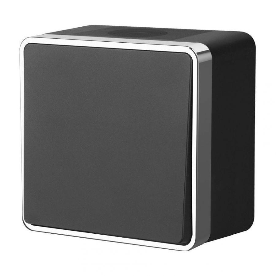 Выключатель одноклавишный влагозащищенный Werkel Gallant черный/хром WL15-01-02 4690389130212
