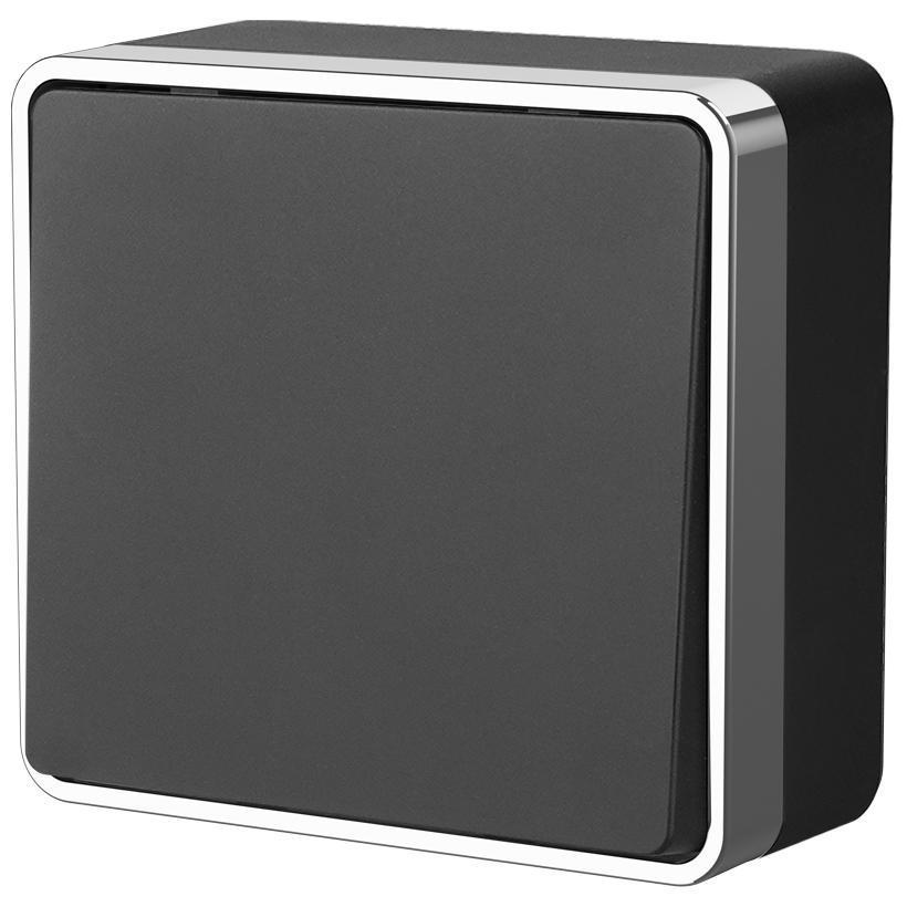 Выключатель одноклавишный проходной Werkel Gallant черный/хром WL15-01-03 4690389130229