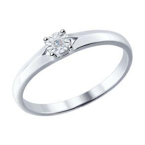 Помолвочное кольцо из серебра с бриллиантом 87010018 SOKOLOV