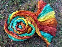 Разноцветный шарф парео из наутрального жатого шелка, купить в Москве, интернет магазин