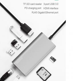 Адаптер Llano 7 в 1 (USB-C +3USB +Ethernet +HDMI +Card Reader +PD)
