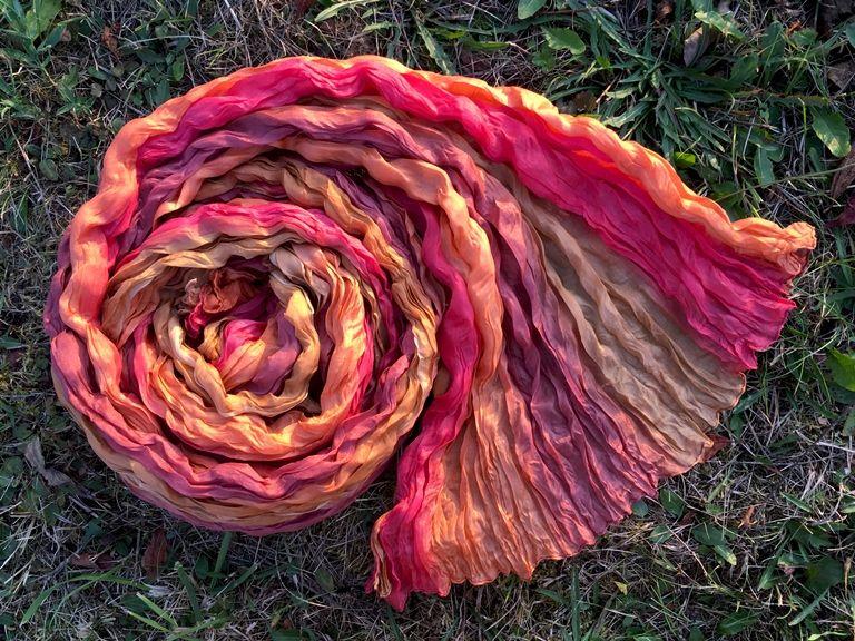 NEW Золотисто-бордовый шарф из натурального шёлка (Москва)