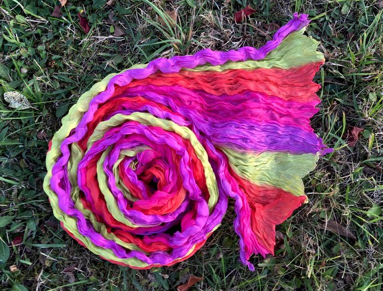 NEW Лимонно-розовый шарф из шёлка (Москва)