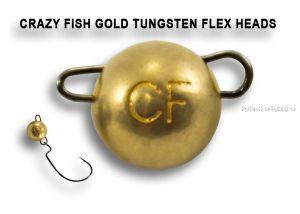 Вольфрамовая шарнирная головка Crazy Fish 7гр / цвет: золото /упаковка 2 шт