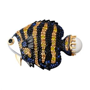 Брошь Рыбка из золочёного серебра 93040025 SOKOLOV