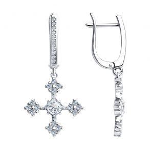 Серьги из серебра с фианитами 94023661 SKLV