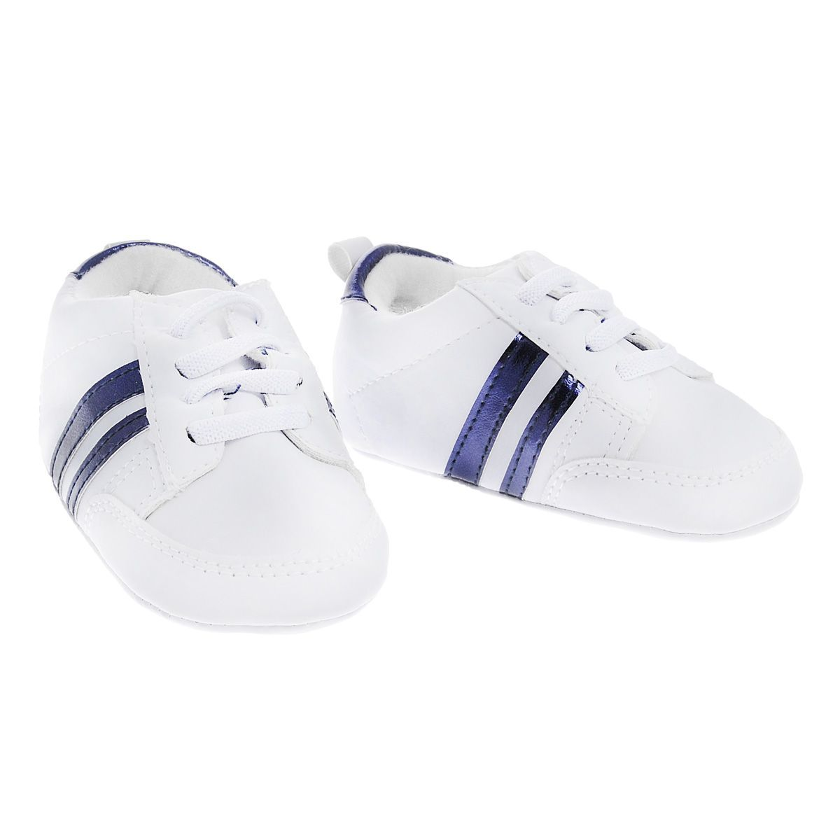 Пинетки кроссовки с полосками синие Luvable Friends 11176