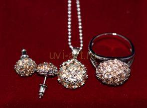 Комплект позолоченных белым золотом украшений с медовыми цитринами - серьги, кольцо, цепочка с подвеской (арт. 800220)