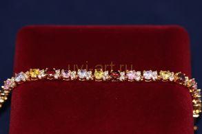 Позолоченный браслет с разноцветными топазами (арт. 800224)