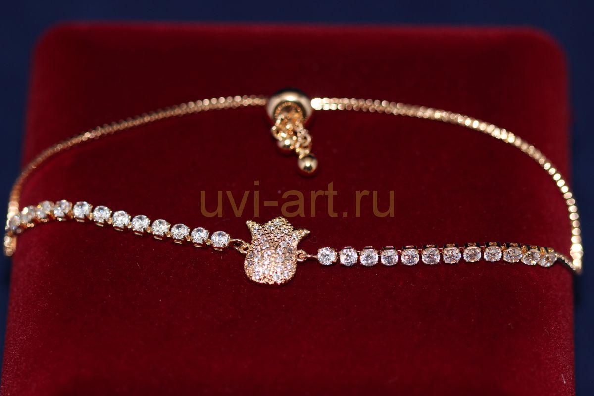 """Позолоченный браслет с подвеской """"Тюльпан"""" (арт. 800225)"""