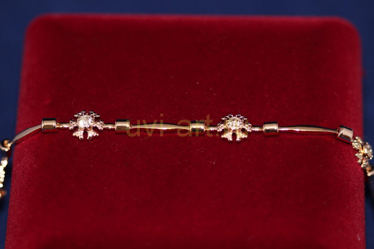 Позолоченный браслет с искусственными бриллиантами (арт. 800226)