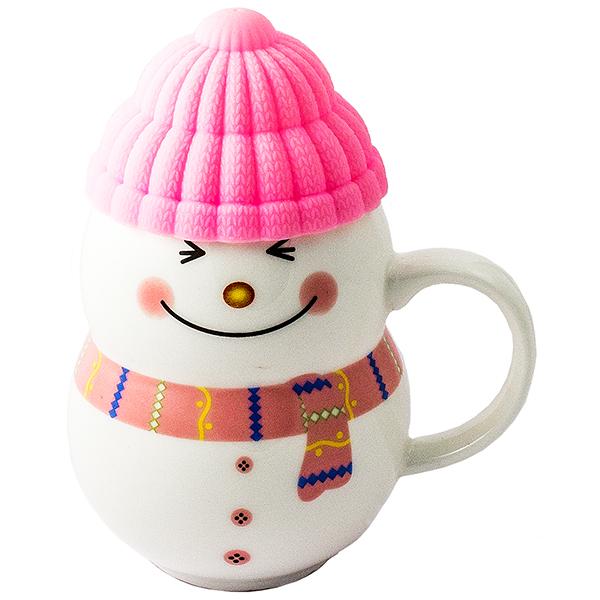 Кружка - снеговик Растопи лёд розовый