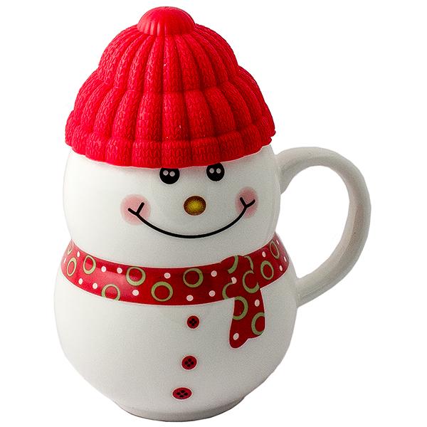 Кружка - снеговик Растопи лёд красный