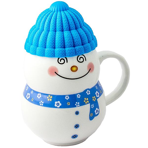 Кружка - снеговик Растопи лёд синий
