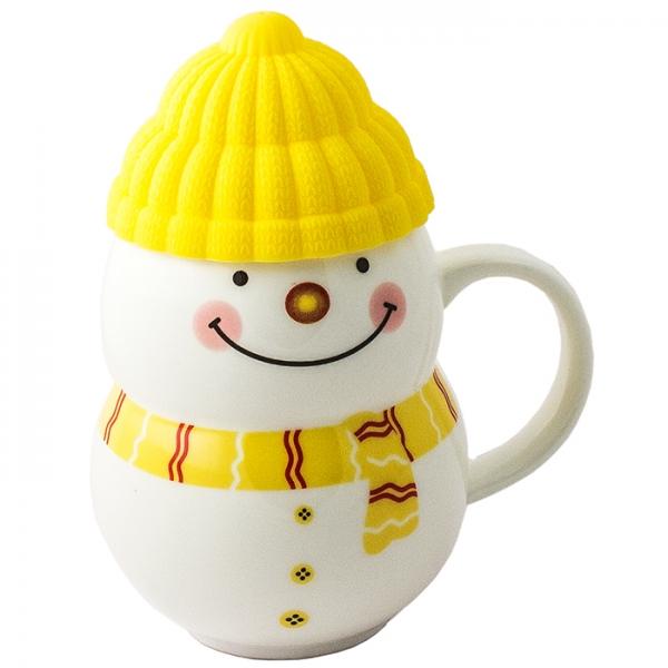 Кружка - снеговик Растопи лёд желтый