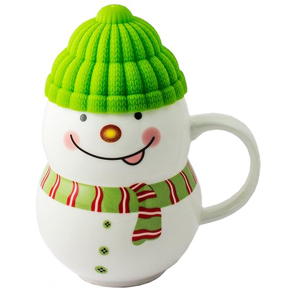 Кружка - снеговик Растопи лёд зеленый