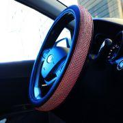 Оплетка со стразами на руль цвет красный