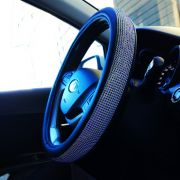 Оплетка со стразами на руль цвет синий