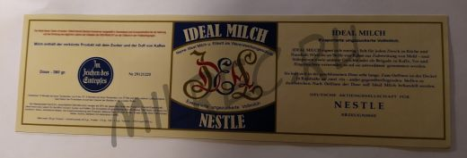"""Этикетка на немецкую сгущенку с какао """"Ideal Milch"""" Nestle на период ВВ2 (реплика)"""