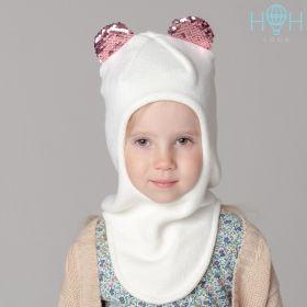 HOH ШЗ20-59111790 Шапка-шлем зимняя с ушками мишки из пайеток, молочный