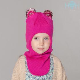 HOH ШЗ20-59391790 Шапка-шлем зимняя с ушками мишки из пайеток, малиновый
