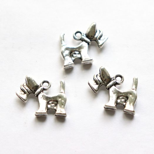 Подвески металлические, Терьер, 20 мм, тибет.серебро, 4 шт/упак