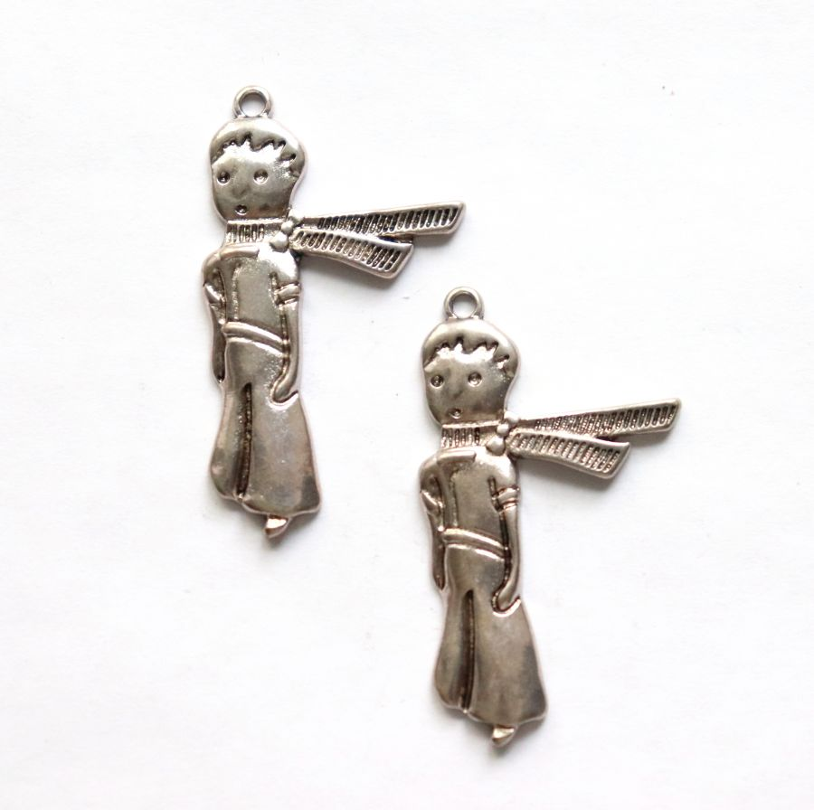 Подвески металлические, Маленький принц, 40 мм, тибет.серебро, 2 шт/упак