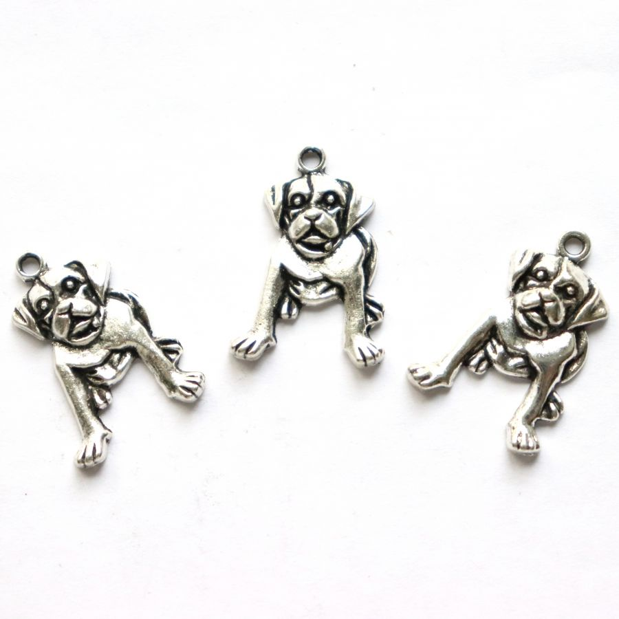 Подвески металлические, Собака, 20 мм, тибет.серебро, 4 шт/упак