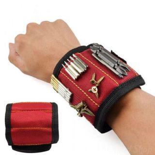 Строительный магнитный браслет Magnetic Wristband (5 магнитов), Красный