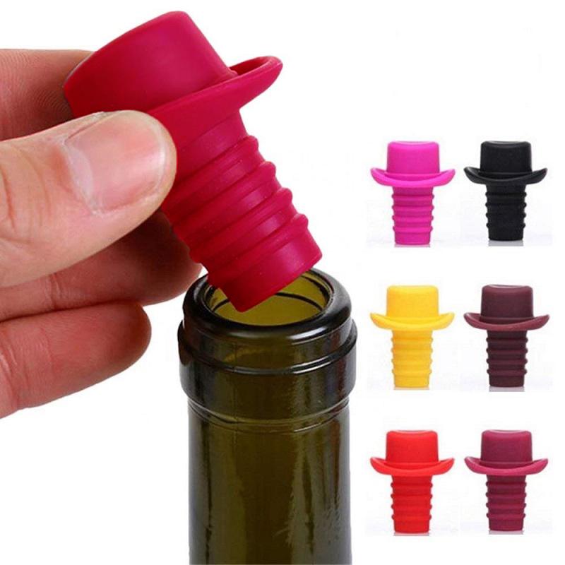 Пробка Для Бутылок Шляпа Silicone Bottle Stoppers, Цвет Красный