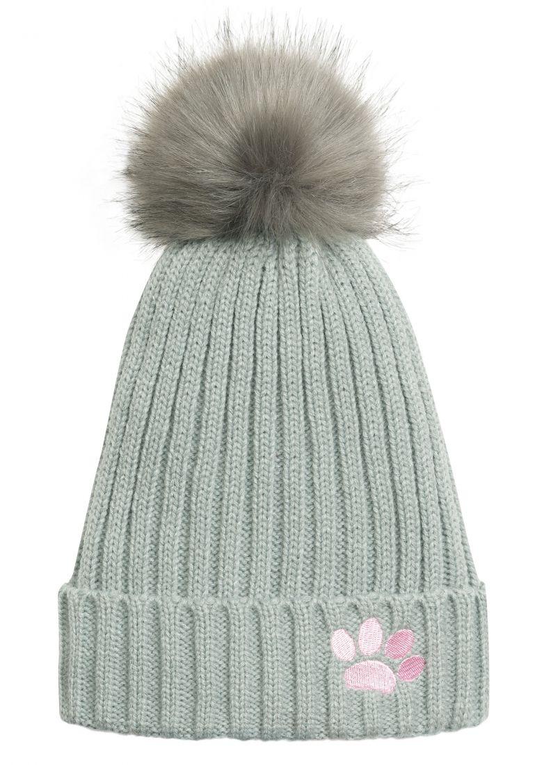 Теплая шапка для девочки на размер 53-54