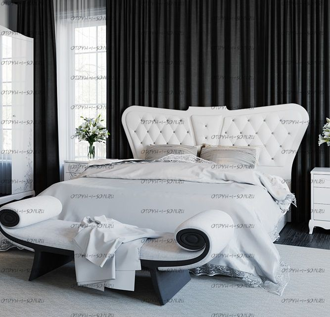 Кровать с мягким изголовьем Аврора с ПО СМ-268.01.04 (160х200)