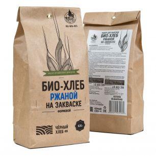 """""""Чёрный хлеб"""" Набор для выпечки: БИО-хлеб ржаной на закваске формовой, пакет 0,525 кг"""