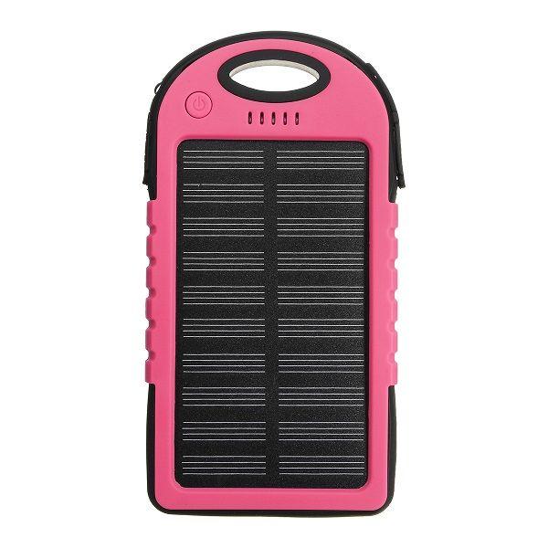 Power Bank с солнечной батареей, 5000 мАч, розовый