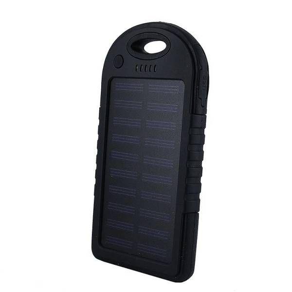 Power Bank с солнечной батареей, 5000 мАч, черный