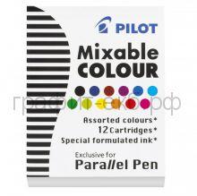 Картридж Pilot для перьевой ручки ассорти 12шт. IC-P3-AST