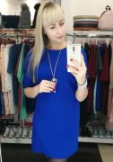 Платье прямого кроя с украшением в комплекте цвет синий