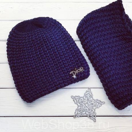 Комплект: теплая вязаная шапка с флисом и снуд цвет синий